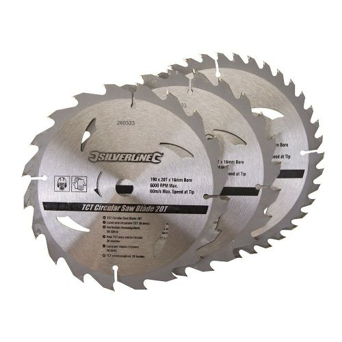 3 Pack Silverline 260333 TCT Circular Saw Blades 20, 24, 40 Teeth 190mm x 16mm